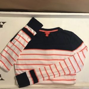 Striped IZOD Long Sleeve Shirt Navy White and Pink